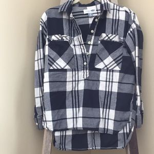 Old Navy navy blue and white plaid shirt